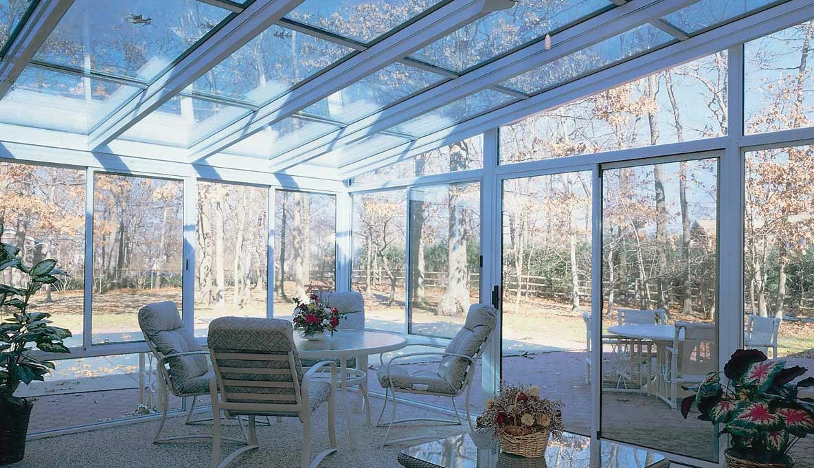 Aluminum Straight Eave Glass Roof Sunrooms Patio Enclosures